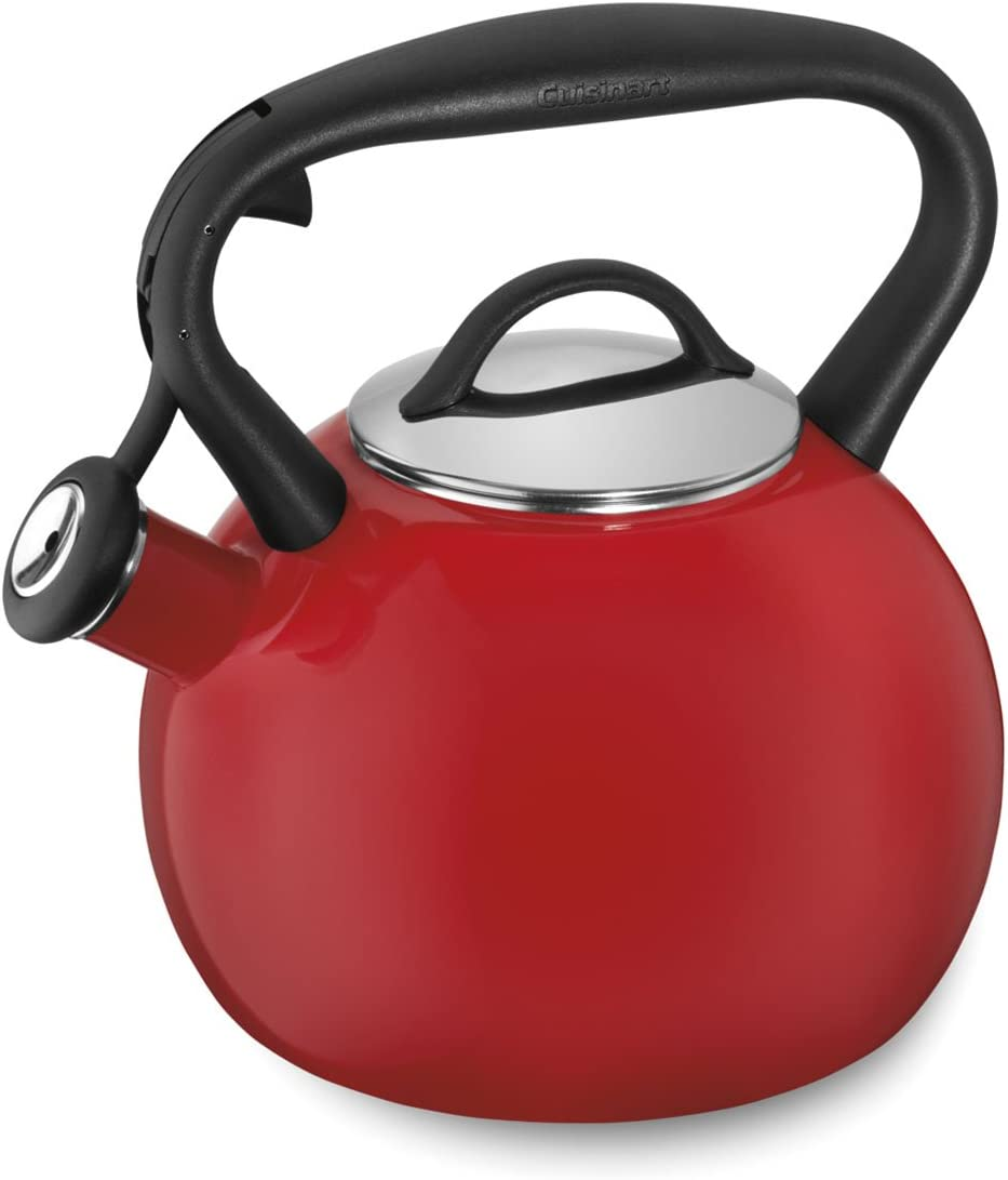Cuisinart Valor OFFicial site Porcelain Enamel on Red Direct stock discount Steel Tea Kettle