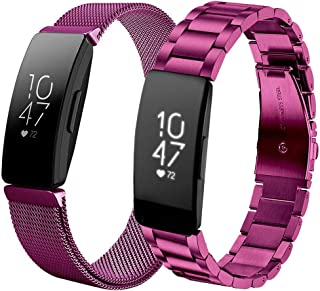 Koreda Compatible with Fitbit Inspire/Inspire HR Band Women Men Sets, Stainless Steel Metal Band + Mesh Loop Replacement Bracelet Strap Compatible with Fitbit Inspire HR Smartwatch
