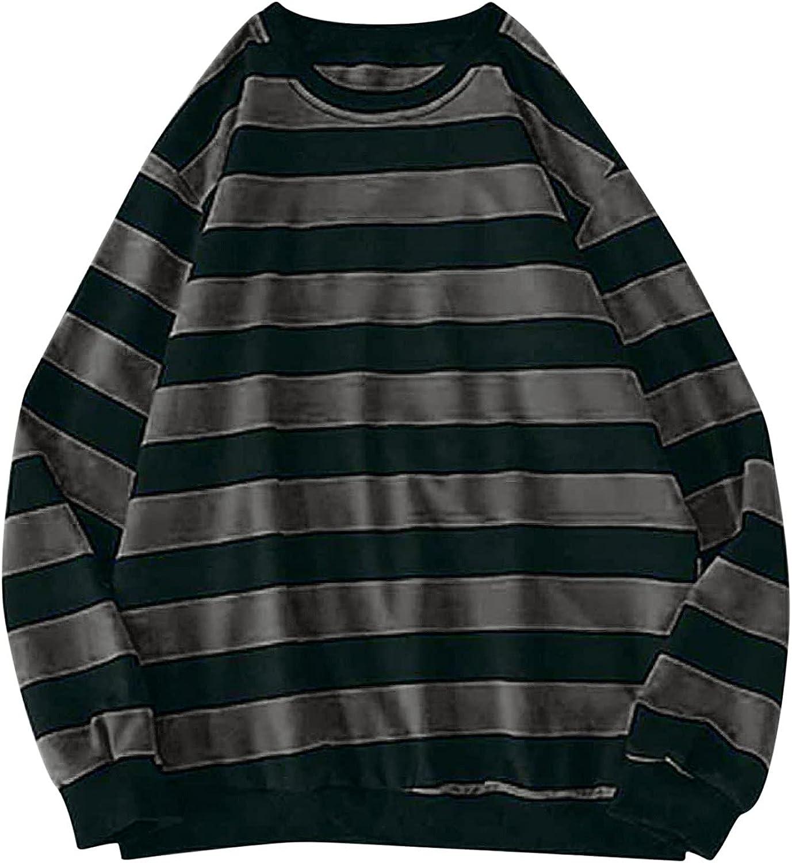 Men's New Shipping Free Striped Baggy Long Sleeve O Sweatshirt Lantern Neck Max 61% OFF