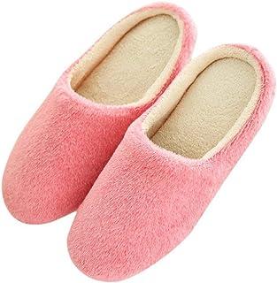 Solid Color Anti-slip Home Floor Soft Slippers Shoes Fashion Indoor Slippers Winter Men Women Velvet Plush Warm Slippers