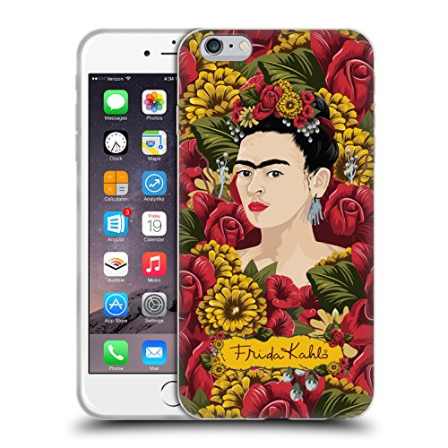 Official Frida Kahlo Portrait Pattern Red Florals Soft Gel Case Compatible for iPhone 6 Plus/iPhone 6s Plus