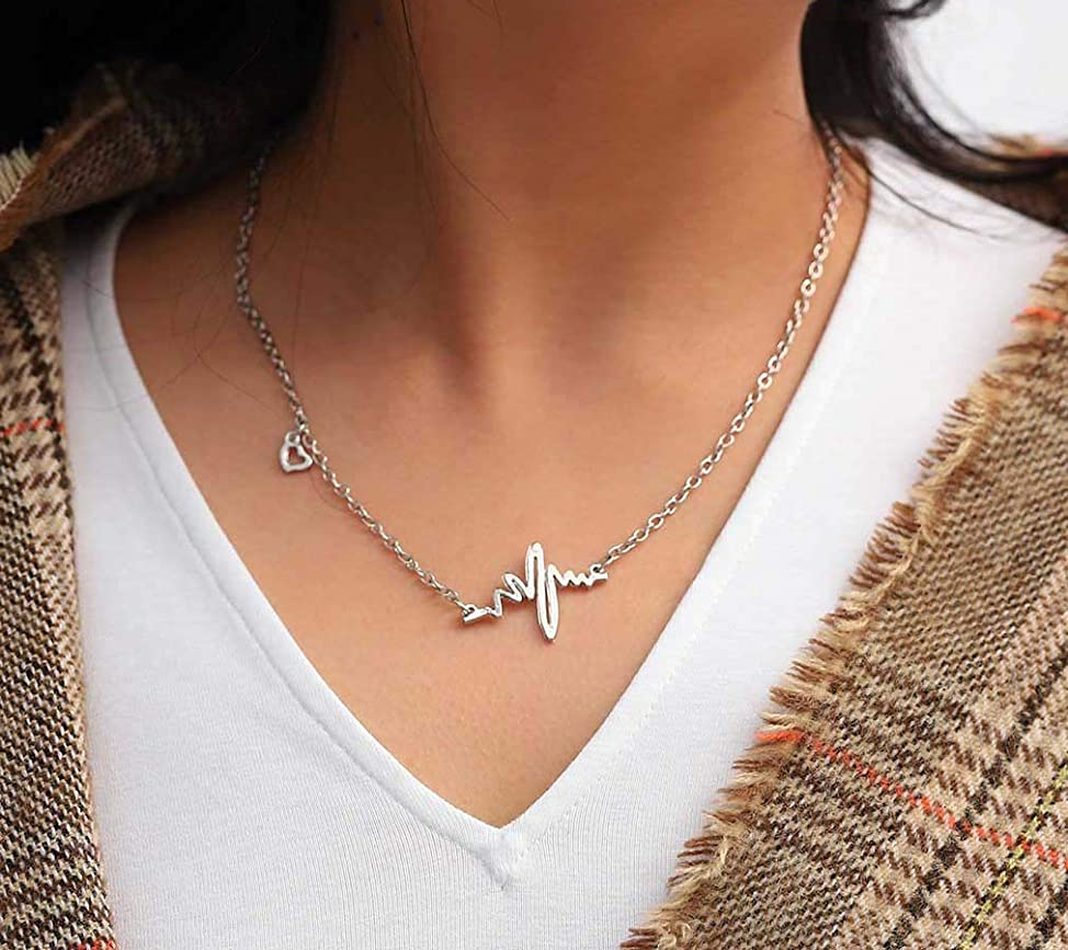 Fstrend Symbol Necklace Dainty Simple Heartbeat and Heart Chain Necklaces Jewelry for Women and Girls (Silver)