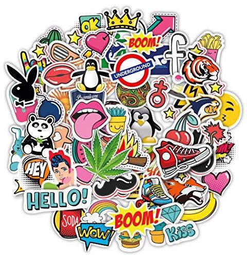 Stickerbombe aufkleber 100 sticker graffiti macbook iphone skateboard vinyl pop art aufkleber Sortiert Sticker Pack Snowboard Gepäck Koffer iPhone Auto Fahrrad Bumper Bomb Pack - Vintage Retro Pop Art