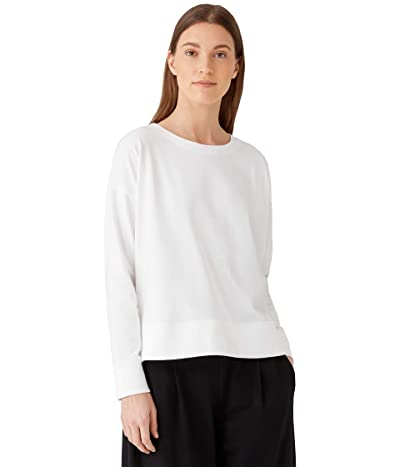 Eileen Fisher Crew Neck Top with High-Low Hem in Organic Cotton Stretch Jersey