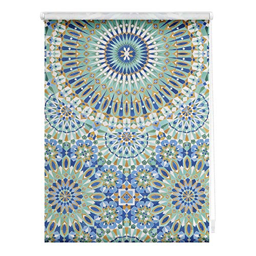 Lichtblick KRV.090.150.402 Rollo Klemmfix, ohne Bohren, Verdunkelung, Orientalische Muster - Blau Grün 90 cm x 150 cm (B x L)