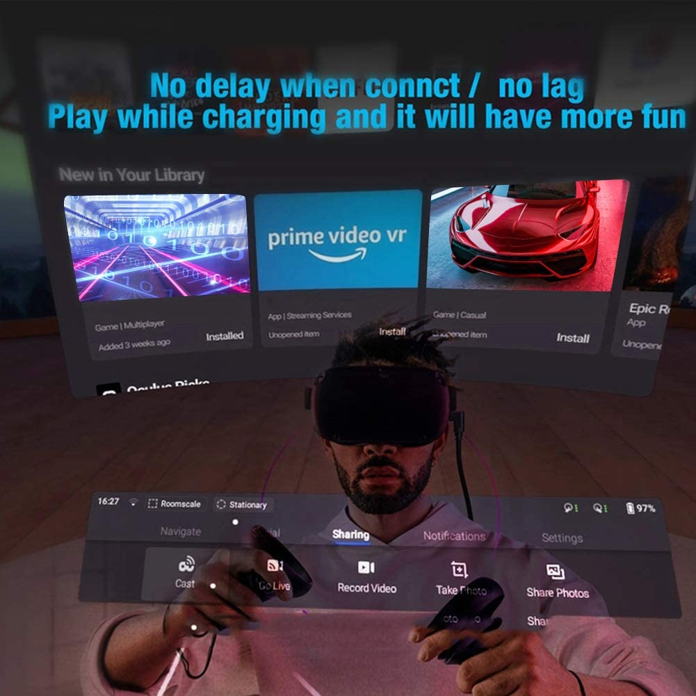 USB C 3.0 Gaming PC Link Cable with Signal Booster for Oculus Quest VR Game Computer