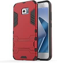 Asus Zenfone V V520KL Case: Lrker Full Protection Super Hard PC Armor Shell Soft TPU Inside Dual Layer with Kickstand Fall Proof Prevent Drop for Asus Zenfone V V520KL, Red