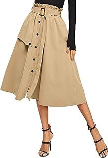 SweatyRocks Women's Casual Button Down Elastic Waist A Line Midi Skirt with Belt