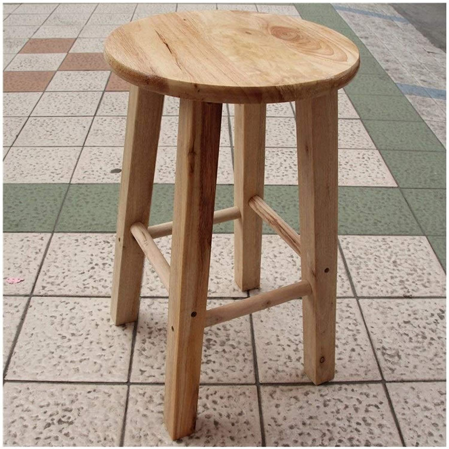 Barstools,Bar Stools Log color Solid Wood High Stool Simple Bar Stool Oak Bar Stool High Stool Stool Step Stool Stool High Stool (Size   Height 32 )