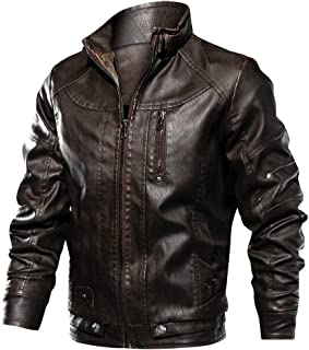 ReFire Gear Men's Leather Jacket Vintage Stand Collar Motorcycle Biker Faux Leather Coat