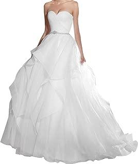 Zhongde Women Strapless Sweetheart Multi Layer Ruffles Organza Puffy Wedding Dress Bridal Ball Gown for Bride