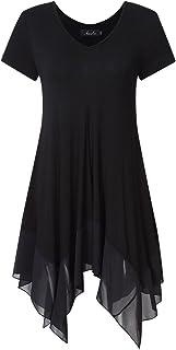 AMZ Plus Women Short Sleeve Spliced Asymmetrical Plus Size Tunic Top Black 3XL