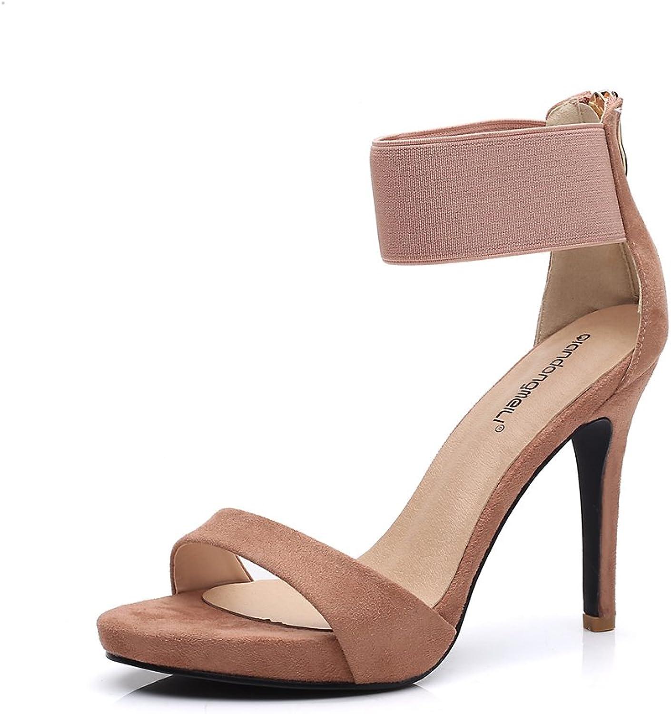 MODEOK Elastic Strap Sandals Toe Heels Summer Zipper Heel shoes Student shoes