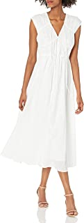 Taylor Dresses Womens Cap Sleeve Tie V-Neck Shirred Bodice Solid Cotton Voile Midi Dress