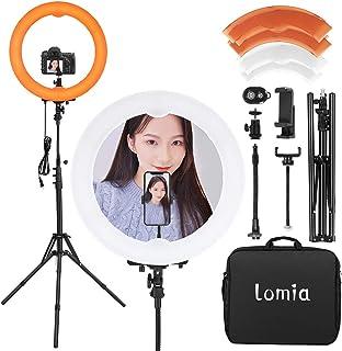 Lomia LEDリングライト 撮影用ライト 外径20インチ55W 5500K カメラ写真ビデオ用照明セット 無段階調光、堅牢で安定した三脚、電話ホルダーの360度回転 ライト...