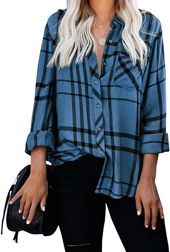 Valphsio Womens Plaid Button Down Top Long Sleeves V Neck Pocketed Blouse Shirt