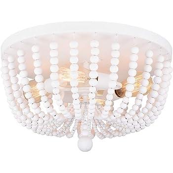 Alice House 18 Flush Mount Light Rustic White Wood Bead Chandelier 4 Light Ceiling Light For Entryway Hallway Bedroom Living Room Dining Room Al9031 S4 Amazon Com