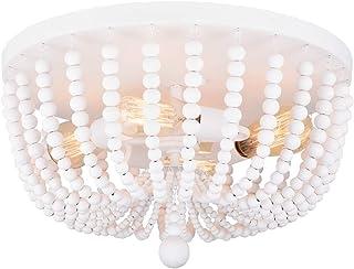 "Alice House 18"" Flush Mount Light, Rustic White Wood Bead Chandelier, 4 Light Ceiling Light for Entryway, Hallway, Bedroom..."