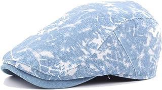 Hipster Beret Cap Wool Ladies Washed Denim Men's Tide Visor Forward Cap White Marble Pattern Accessories (Color : Light bl...