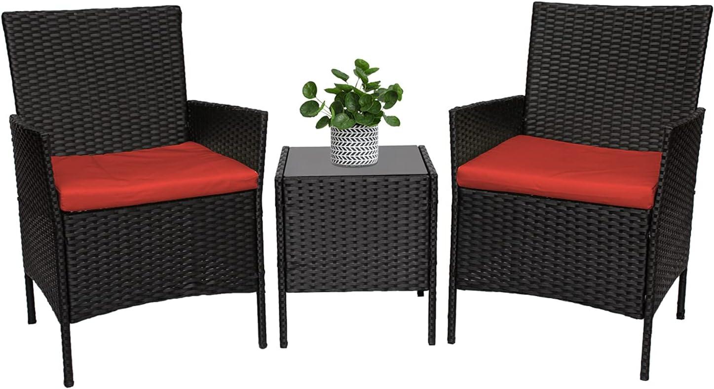 HSQQ 3-Piece Charlotte Mall Wicker Patio Furniture Sets Boston Mall PE Outdoor Small