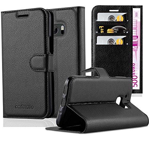 Cadorabo Hülle für HTC ONE M10 - Hülle in Phantom SCHWARZ – Handyhülle mit Kartenfach & Standfunktion - Hülle Cover Schutzhülle Etui Tasche Book Klapp Style