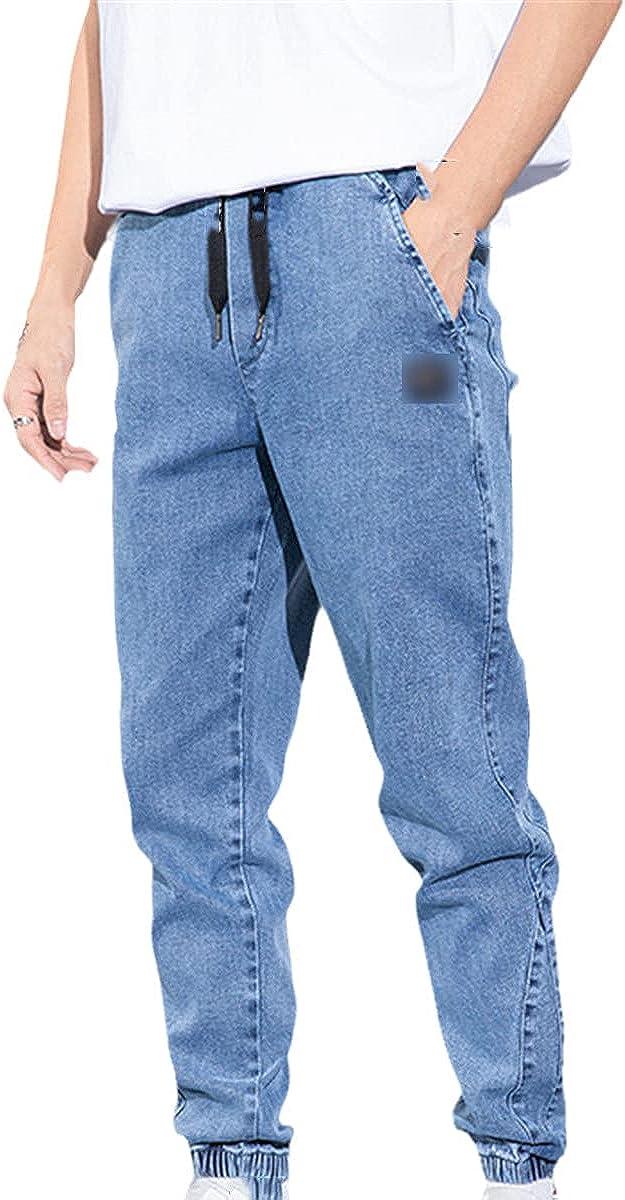 CACLSL Summer Loose Men's Jeans Text Embroidery Loose Elastic Waist Jogging Pants Men's Plus Size