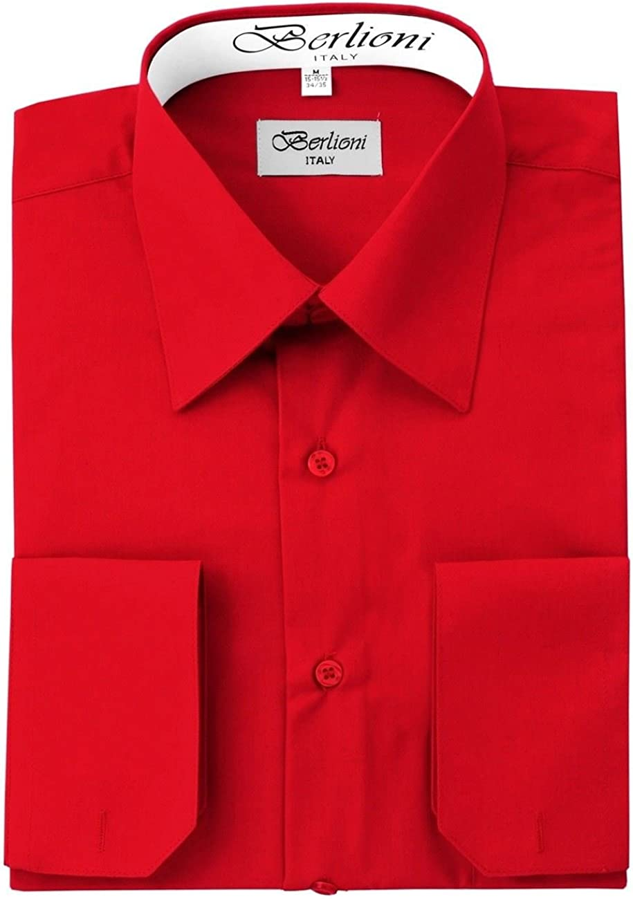 Berlioni Italy Men's Luxe Dress Shirt French Convertible Cuff Button Down Red