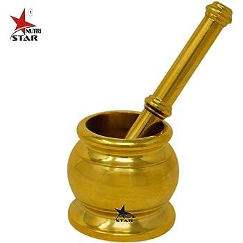 Nutristar Mortar Pastel   Khalbatta   Brass Pital Hand Chopper   Kitchen Khalbatta Okhli Masher Height = 2.5 Inch