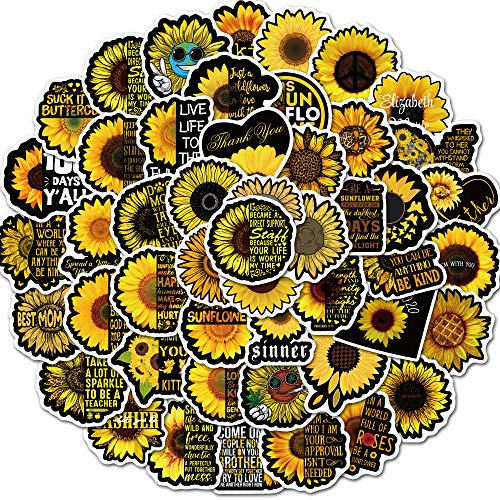 YZFCL Black sunflower doodle sticker suitcase guitar notebook water cup personalized decorative sticker 50pcs