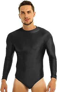 Men's Long Sleeve Turtle Neck Stretch Swimsuit Leotard Thong Ballet Dance Bodysuit