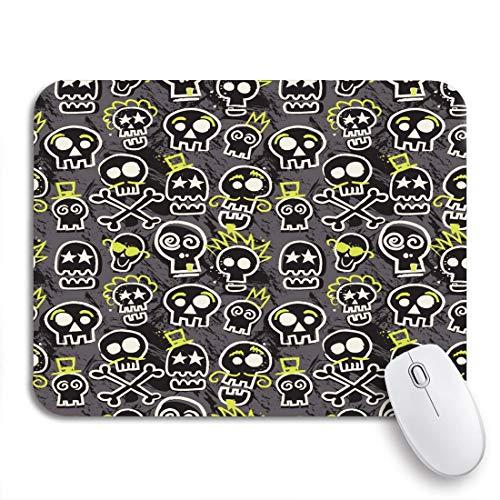 MIGAGA Gaming-Mauspad,Muster Sketchy Skull in grauem Skateboard Emo Boy Rock,Rutschfest Verschleißfestes Und Haltbares Gummi,Mousepad Für Bürocomputer,9.5