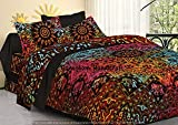 Indian Hippie Gypsy Home Decor Tapestry Boho Quilt Cover Throw Blanket Cotton Reversible Queen Tie & Die Mandala Duvet Cover Comforter Set (Multicolor) (Multicolor)