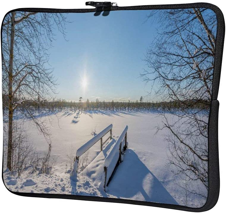 Snow Covered Nature with Old Wooden Bridge 10 Inch Laptop Sleeve Case Protective Cover Carrying Bag for 9.7 10.5 iPad Pro Air// 10 Microsoft Surface Go// 10.5 Samsung Galaxy Tab