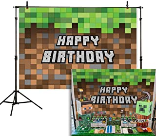 Allenjoy 7x5ft Mine Pixel Craft Theme Backdrop Happy Birthday Block Video Game Photography Background Cartoon Grass and Land Wall Party Cake Table Decoration Banner Photo Booth Props