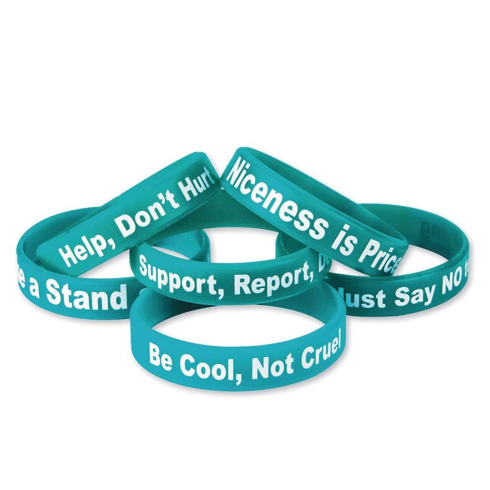 SS RA918-24 Anti-Bullying Silicone Bracelet Pack Max 62% OFF Blue of Discount is also underway 24
