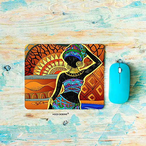 HGOD DESIGNS Gaming Mouse Pad African,African Women,Ethnic African Mousepad Rectangle Non-Slip Rubber Mouse Pads(7.9'X9.5')