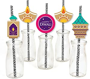 Big Dot of Happiness Happy Diwali - Paper Straw Decor - Festival of Lights Party Striped Decorative Straws - Set of 24