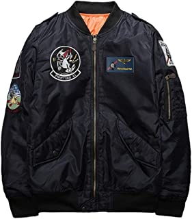 ユニセックス 空軍刺繍ワッペン使い MA-1ジャケット 全3色 キルト裏地 厚手 防寒 フライトジャケット パイロットジャケット ベースボールジャケット ミリタリースタイル ブルゾン ジャンパー ウインドブレーカー オリジナルグッズ付属 3902473