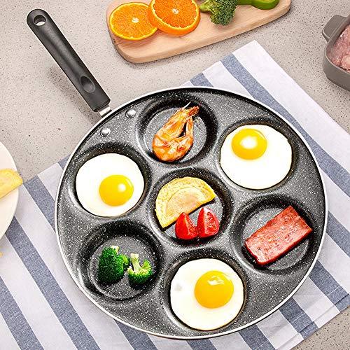 Padella per uova, Fornello per uova fritte in alluminio antiaderente a 7 fori, Padella per bistecca per hamburger per frittata, Padella per la colazione domestica Pentole da cucina