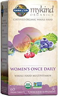 Garden of Life Multivitamin for Women - mykind Organics Women's Once Daily Multi - 60 Tablets, Whole Food Multi with Iron,...