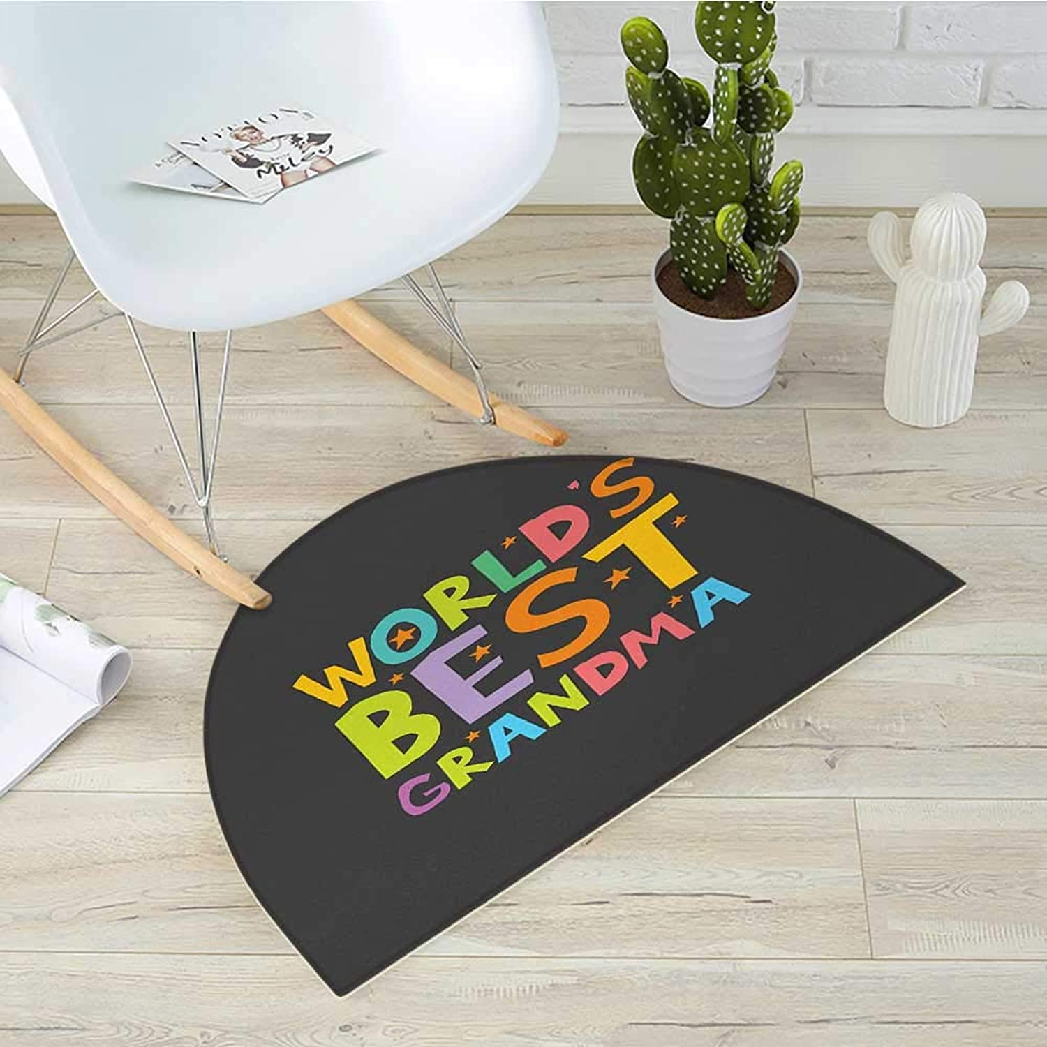 Grandma Half Round Door mats Best Grandmother Quote with colorful Letters Doodle Stars on Greyscale Background Bathroom Mat H 39.3  xD 59  Multicolor