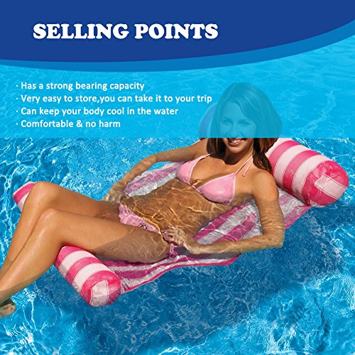 Inflatable Float Rafts, Water Hammock Pool Lounger Lightweight Beach Swimming Hammock Rafts Portable Floating Chair Mat for Adults and Kids within100Kg(A Small Pump Included)
