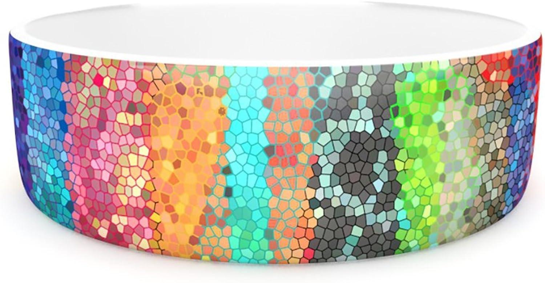 Kess InHouse Catherine Holcombe Stained Glass Batik Mosaic Stripe  Pet Bowl, 7Inch