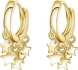 Pendientes de aro para mujer, diseño de estrella dorada, con borla, accesorio de regalo, dorado