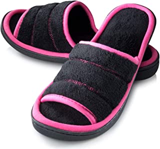 Roxoni Open Toe Slide Slippers for Women; Ideal Terry Cloth House Shoe for Indoor and Outdoor