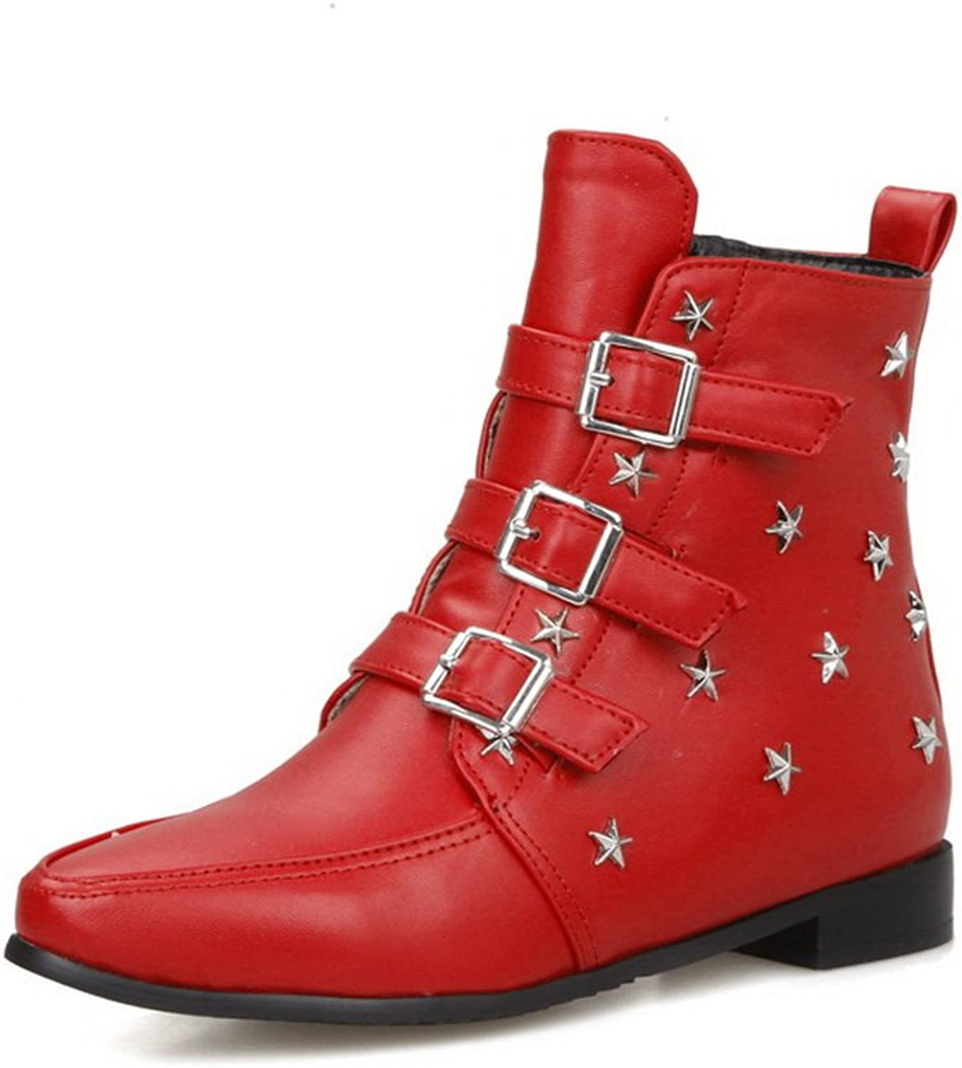 BalaMasa Womens Buckle Studded Rivet Low Heels Imitated Leather Boots