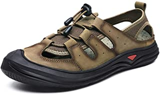 Summer Casual Slippers Men Non-slip Outdoor Sandals Summer Breathable Beach Shoes (Color : Khaki, Size : 45)