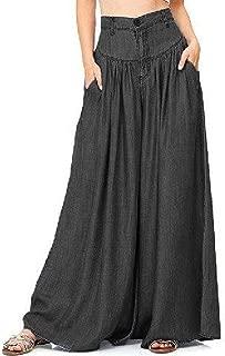2019 Women High Waist Long Harem Pants Loose Denim Blue Wide Leg Pants Plus Size