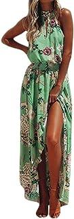 Women Summer Boho Beach Dress, Balakie Ladies Sleeveless Halter Floral Print Evening Party Long Maxi Irregular Dresses (XL, Green)