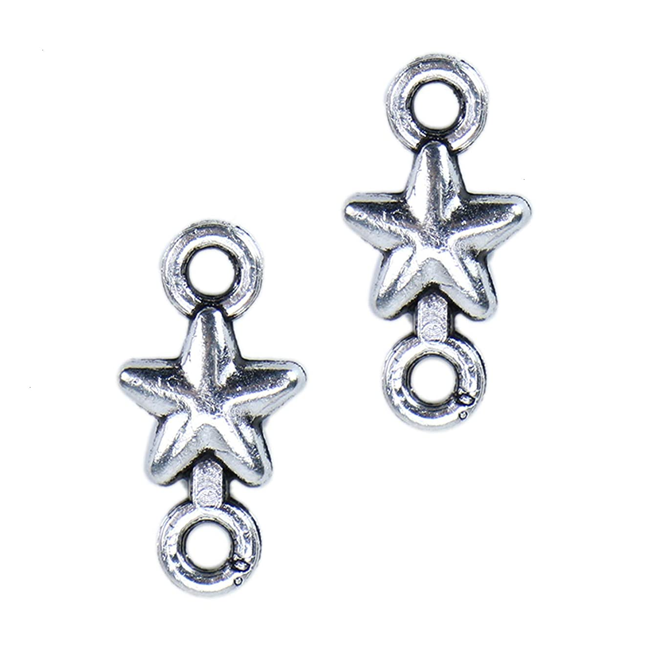 Monrocco 100 PCS 15 x 7.5mm? Antique Silver Star Connector Charms for DIY Crafting and Bracelet and Necklace Jewelry Making